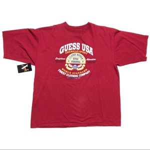 Vintage Guess Tee T Shirt L Large Made In USA Red